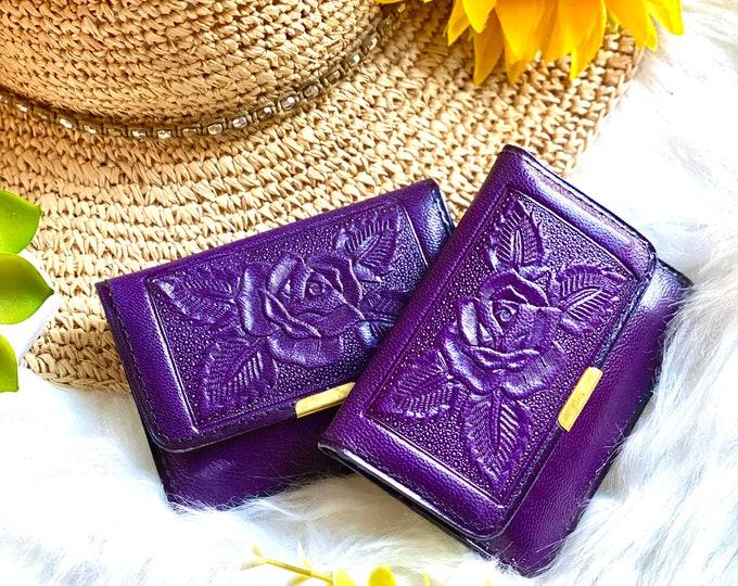 Travel women small wallet- Wallet Woman- woman wallet- gift for her - minimalist wallet - fun wallet - vintage style - purple wallet