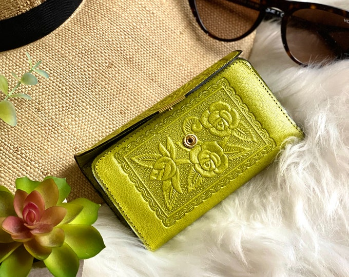 Chartreuse handcrafted with authentic leather wallets for women -  Small woman wallet - women's wallets -gifts for her