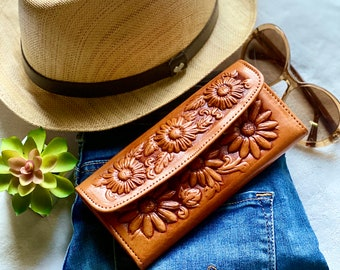 Sunflowers wallet, leather woman wallets, wallets for woman, gift for woman