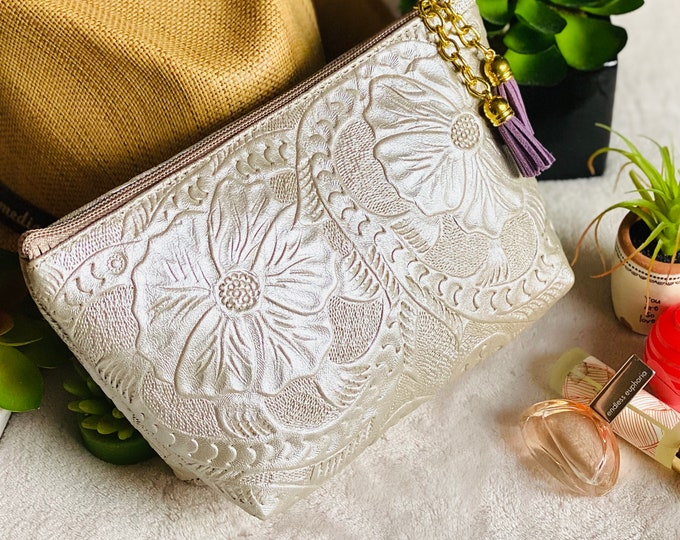 Featured listing image: Leather Cosmetic Bag*Makeup bag*Leather Tooled Bag*Bridesmaid Gift*Floral Bag*Best Friend Gift*Toiletry Storage*Leather Makeup Bag