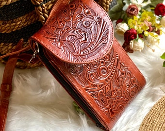 Leather Crossbody - Handmade Leather Crossbody - Small Bag - Boho Crossbody Bag - Woman purse - women gifts