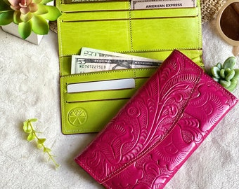 Handmade leather wallets for women - gifts for her - leather wallet women - women's wallets - Trifold wallet for women - pink wallet
