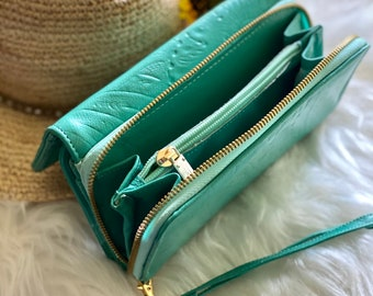 Handmade leather wallets for women - Wristlet wallet - woman purse  -Long wallet -leather wallet -teal wallet - gifts for her