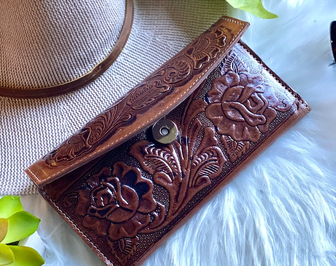 Brown Tooled Roses wallet for woman - woman wallet leather - Handmade woman wallet - leather purse woman - gift for her - roses wallet