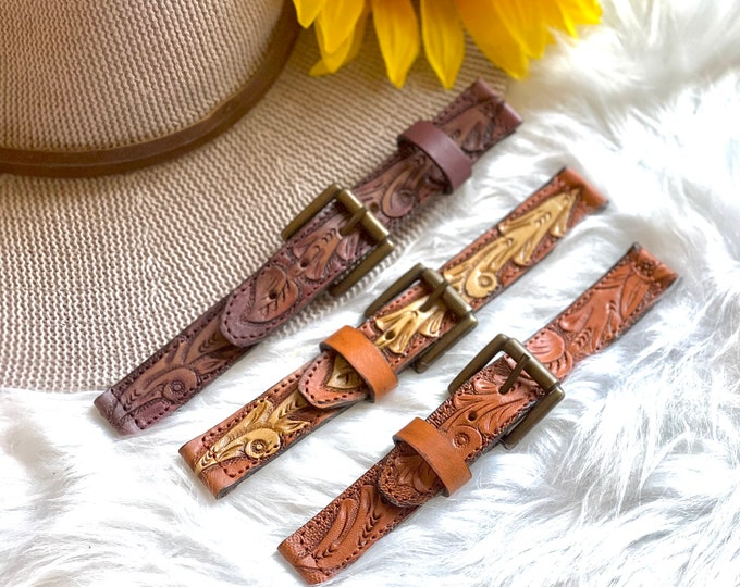 Handmade Tooled Watch Band-Leather watch band. western leather watch band-leather gift
