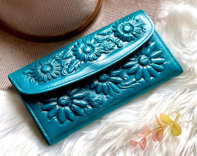 Handmade Leather wallets for women • gifts for her • Floral wallets