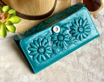 Sunflower Leather wallets for women- Bohemian Wallet-  Wallet Women's leather -sunflower gift