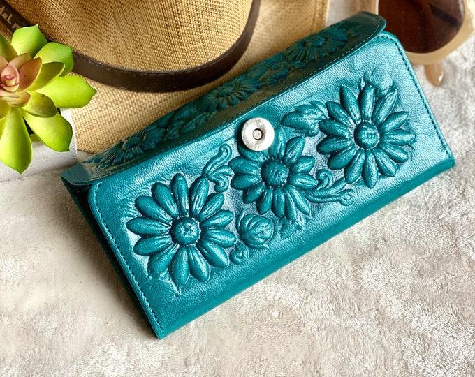 Sunflower Leather wallets for women- Bohemian Wallet-  Wallet Women's leather -sunflower gift