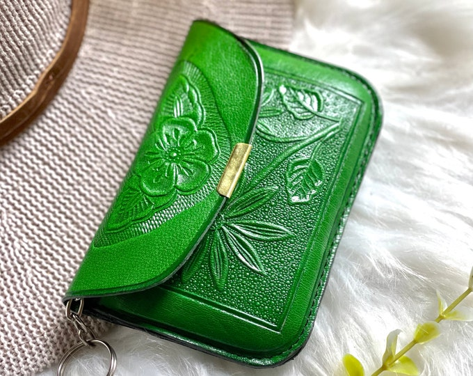 Handmade leather key ring coin purse - Zipper pouch - card wallet