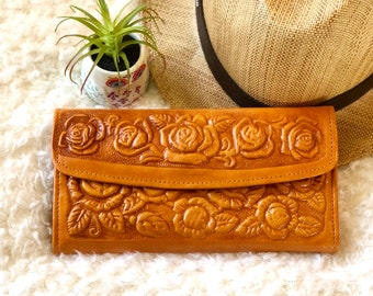 Roses leather wallets - woman wallet leather - gifts for her - gifts for mom -  Girly accessories