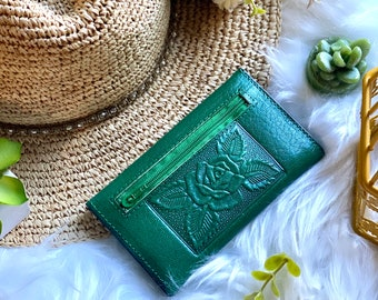 Embossed Leather wallet woman/ Small woman wallet / Wallet for woman/ gift for her