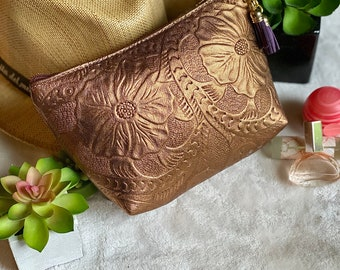 Leather Makeup Bag*Travel Bag* Birthday Gift* Handmade Leather bag*Gift for Girlfriend*Bohemian Makeup Bag*Cosmetic Bag* Small leather bag