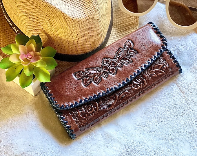 Leather wallet for women - leather western wallet- Bohemian wallet- brown leather wallet - Gift for her