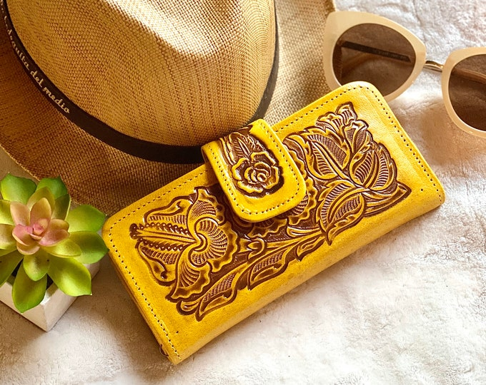 Women's wallet - Western wallet - Bohemian wallet - yellow wallet - Gifts for her - Handmade leather wallet