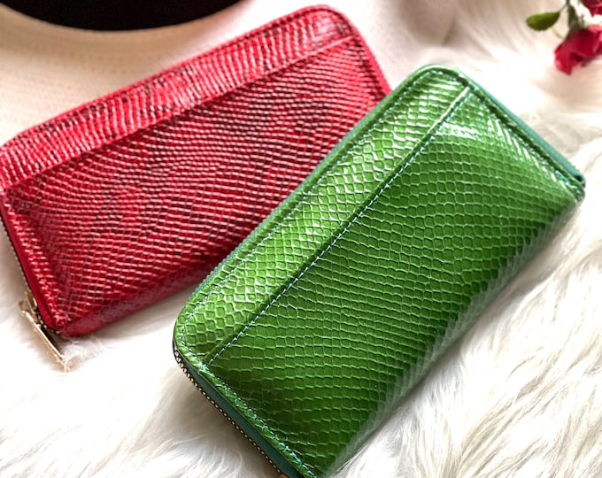 Snake print leather wallet-wallet women- womens wallet-gifts for her