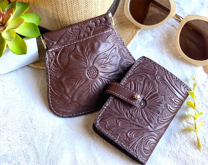 Small wallet woman - Gift for woman - leather wallets for woman- Gift for her - pouch and wallet combo