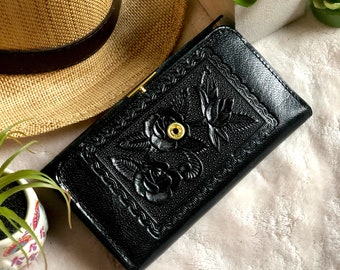 Black leather woman wallet*Purple leather woman wallet*floral*leather women wallet*handmade leather wallet*vintage style leather wallet