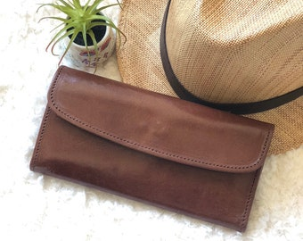 Handmade leather wallet - woman wallet - credit cards wallet - long wallet leather - gift for her - handmade gift for her
