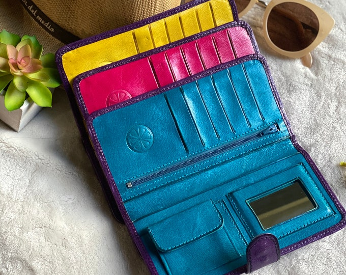 Handmade leather bicolor woman wallets-leather wallets women's - wallets for women- purple leather wallet- gifts for her