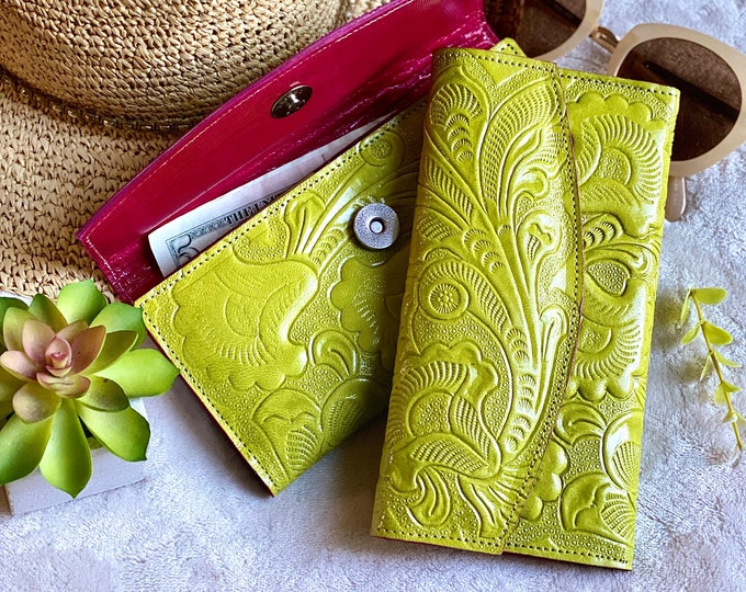 Handcrafted tooled authentic leather women's wallet - leather wallet woman - women wallet - leather wallet - women's wallet - gift for her