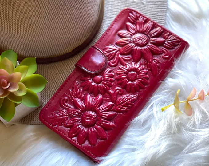 Sunflowers handcrafted wallets - leather wallets - Gifts for her