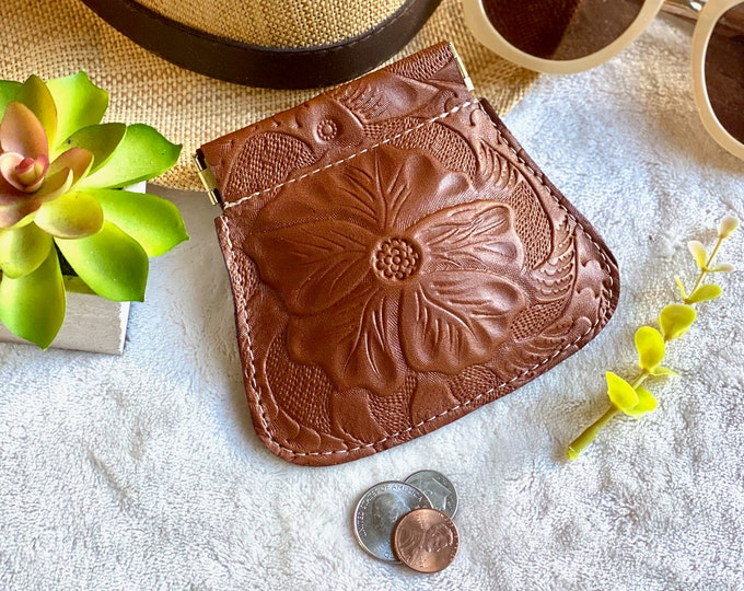 Leather Squeeze Pouch • Leather AirPods Case• Leather coin purse-• gifts for her