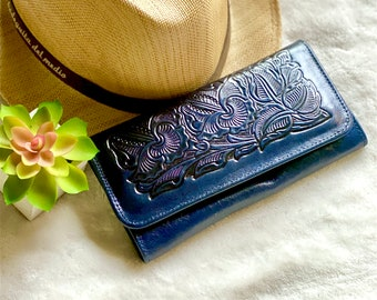 Women's Wallet / Leather wallet for woman / Gift for her - blue woman wallet - wallets for her
