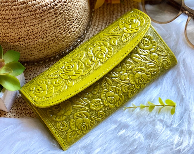 Chartreuse fun leather wallets - leather wallets for women- gifts for her - floral wallets  - women wallets leather