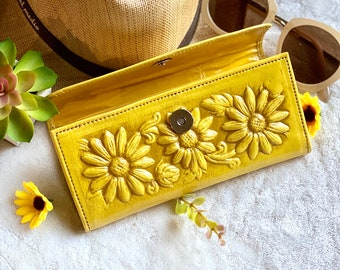 Sunflower Leather wallets for women- Bohemian Wallet-  Wallet Women's leather -sunflower gift- leather wallets for women