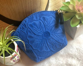 Floral leather cosmetic bag - small makeup pouch - small leather bag -makeup bag small - bridesmaid gift - gifts for her