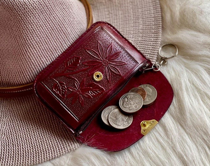 Soft leather key ring coin purse • Key pouch • Key ring wallet