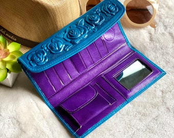 Leather wallet for her - handmade woman wallet -teal roses wallet - gift for her - woman wallet - woman purse - long wallet
