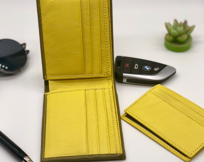Handmade authentic leather wallets for men - Bifold wallet - gift for dad - Father's Day gift