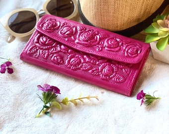 Handmade tooled roses leather wallet - Pink woman wallet - wallets for women - woman purse - credit card wallet - gifts for her