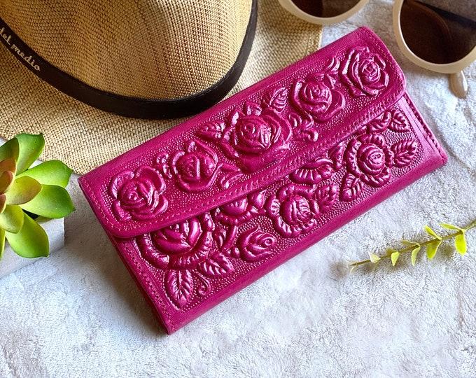 Women's leather wallet - Roses wallet - woman wallet leather - gifts for her - gifts for mom -  Girly accessories - wallet woman