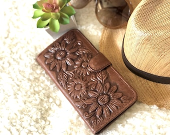 Handcrafted Sunflowers Leather Wallets for Woman - Gifts for her - Bohemian wallets
