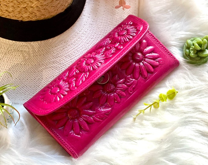 Handcrafted authentic leather wallets for women - Sunflowers wallet - woman's wallet - leather women's wallet - gifts for her - pink wallet