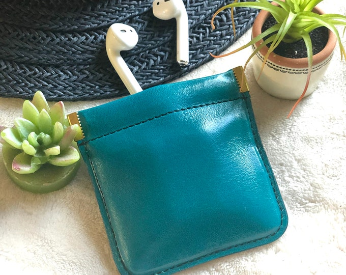 Handmade Leather Squeeze coin purse - squeeze Airpods Case. Squeeze coin purse - Condoms Case - Small Pouch -small gift - leather pouch