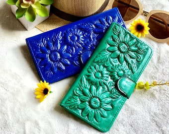 Leather wallets for women - Handmade sunflowers leather woman wallet - gifts for her - handmade gifts- bifold wallet - sunflowers gifts
