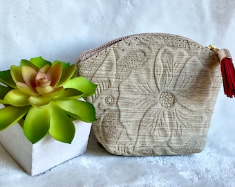 Embossed leather Pouch bag - Travel pouch - Woman leather pouch - Hibiscus flower bag