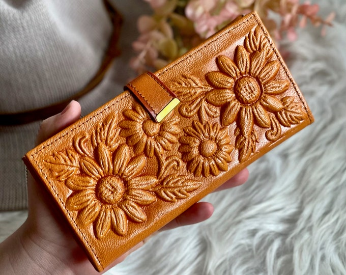 Sunflowers leather wallets • wallets for women • gifts for her