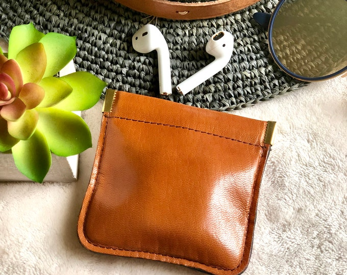 Squeeze Leather Pouch*Earbuds Case* Leather coin purse*Bohemian Coin Purse*Woman Coin Purse*Small*Airpods case*Gifts fo him