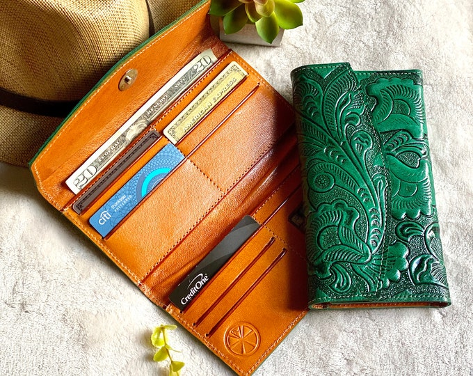 Bicolor handcrafted wallets for women -leather wallet - wallet women- leather wallets - gifts for her - wallet women leather -womens wallet