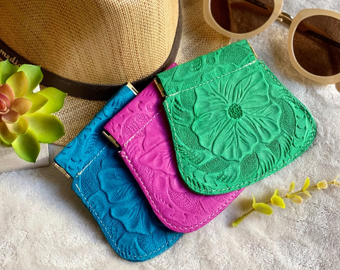 Authentic Leather Squeeze pouch - coin purse - change purse - pin pouch - flex frame - squeeze frame - gift for her