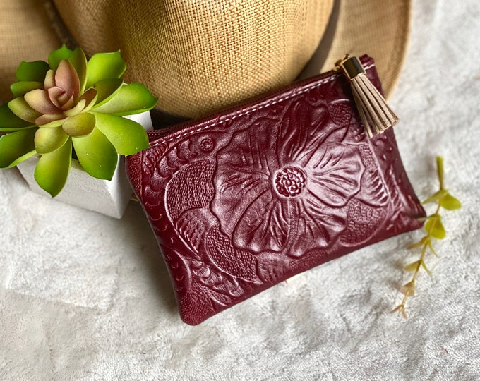 Embossed authentic leather woman pouch- small makeup bag for purse - small cosmetic bag - woman zipper pouch - gift for her