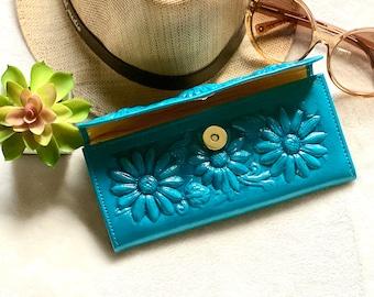 Sunflowers wallet, leather woman wallets, wallets for woman, gift for woman, gift for her