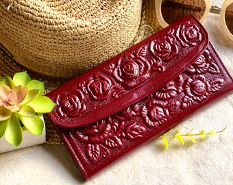 Burgundy Tooled Roses wallet for woman - woman wallet leather - Handmade woman wallet - leather purse woman - gift for her