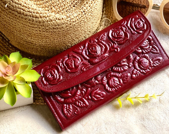Roses wallets for woman-woman wallet leather-Handmade gift for her