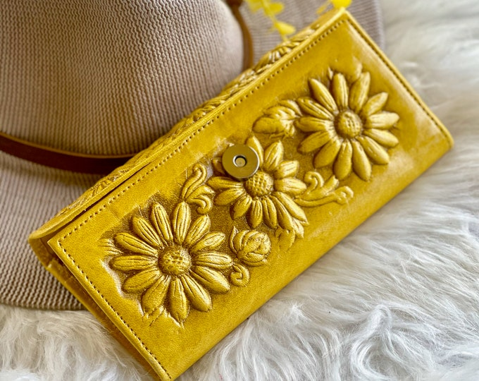 Sunflowers leather women's wallets • gift for women • Bohemian style