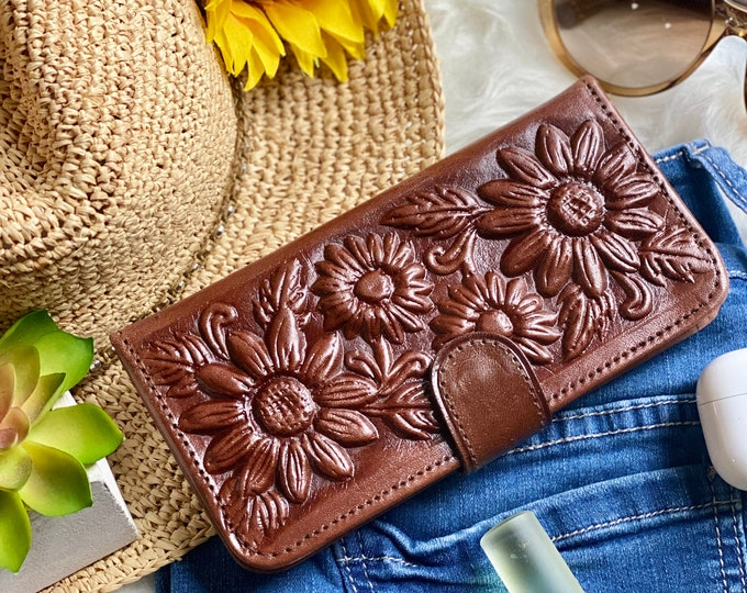 Sunflowers wallets for women - leather wallet woman - wallets for women - gifts for her - brown wallets for women - credit card wallet
